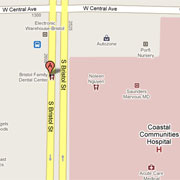 Map to Bristol Family Dental Center